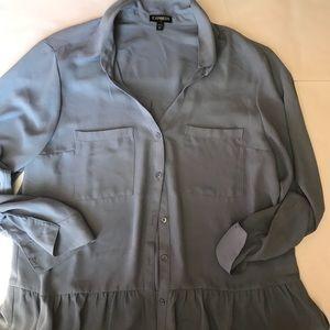 Express ruffle button up blue shirt sleeve shirt L